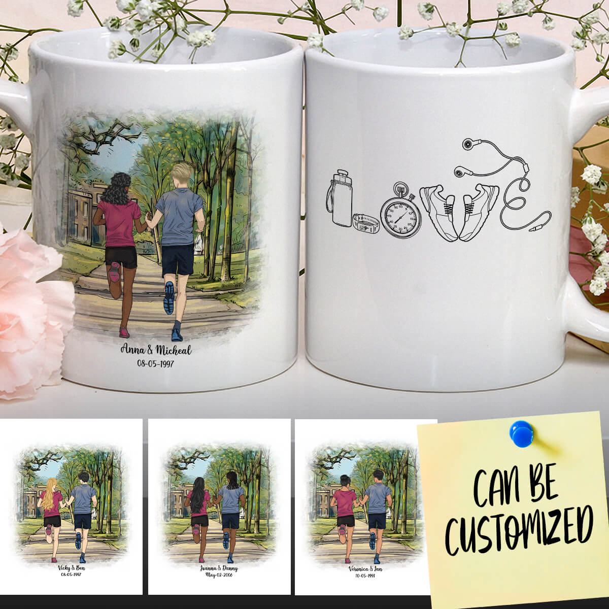 Personalized Running Couple Mug