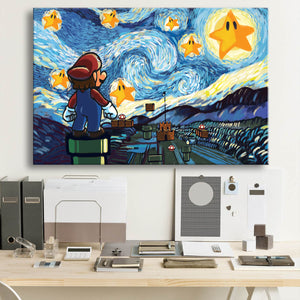 Mario Starry Night Framed Canvas Wall Art