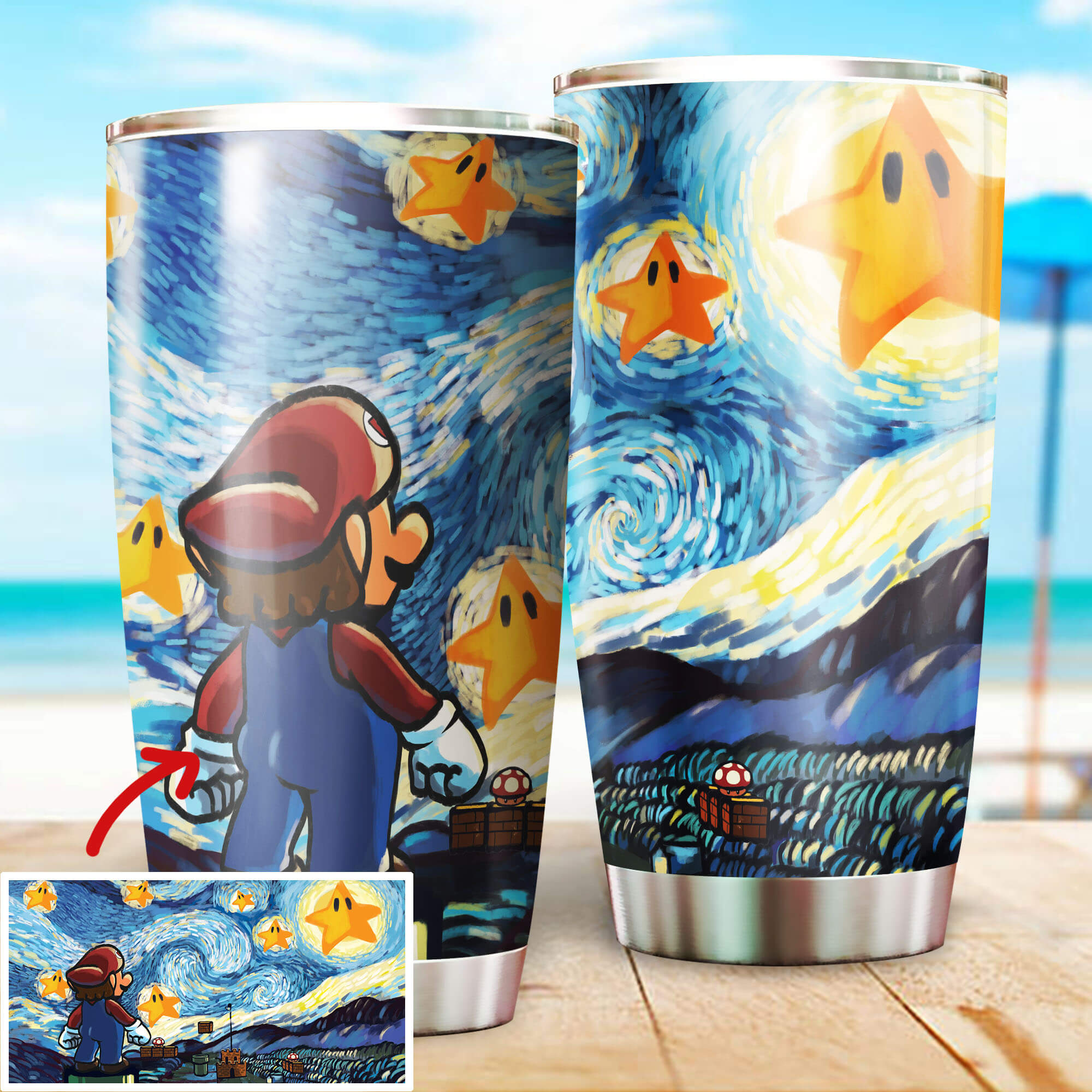Mario Starry Night Stainless Steel Tumbler