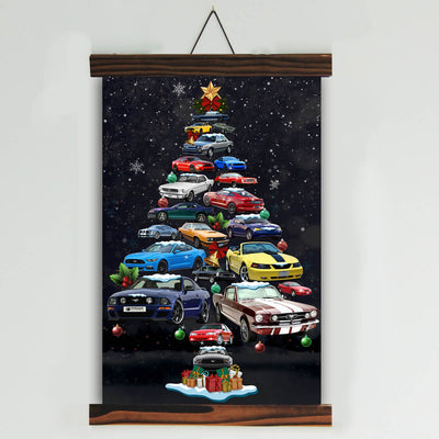 Mustang Christmas Tree Canvas Wall Art