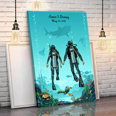 Personalized Scuba Diving Framed Canvas Wall Art