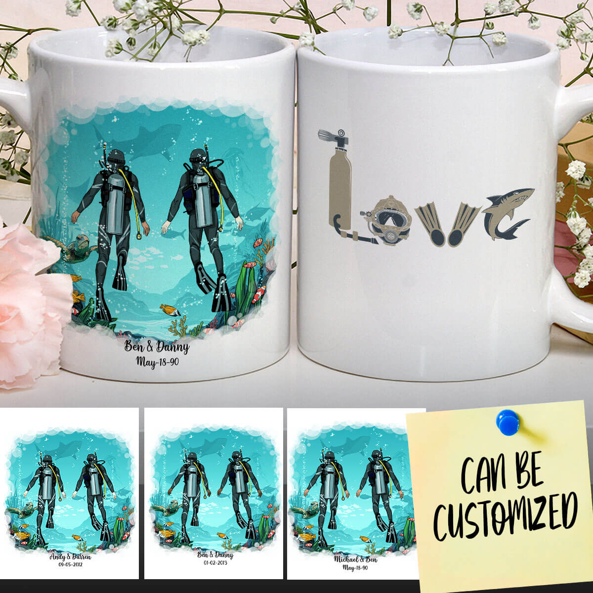 Personalized Scuba Diving Male Mug