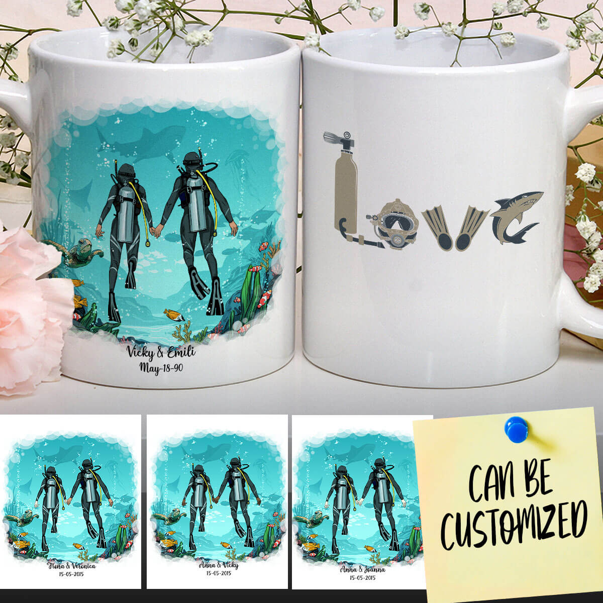 Personalized Scuba Diving Female Mug