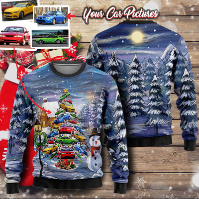 Personalized Christmas Sweater - Christmas Tree From Your Cars