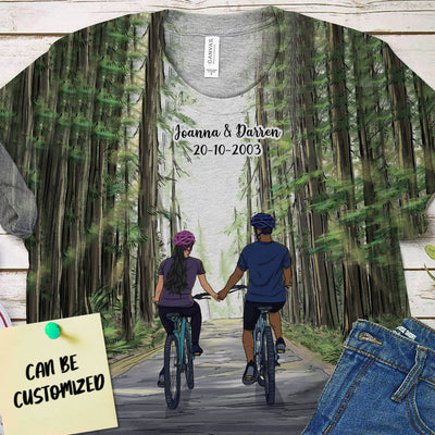 Personalized Bicycling Couple 3D Art All Over Print T-shirt