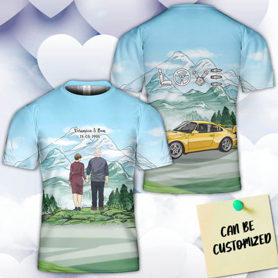 Personalized 911 Couple 3D Art All Over Print T-shirt