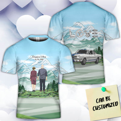 Personalized Stang Couple 3D Art All Over Print T-shirt