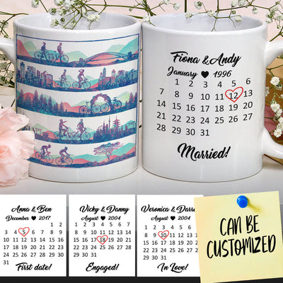 Personalized Bicycling Special Date Couple Mug
