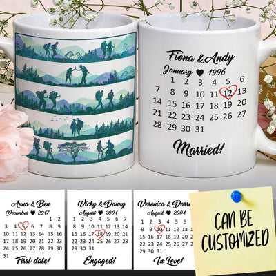 Personalized Hiking Special Date Couple Mug