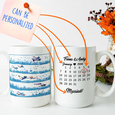 Personalized Scuba Diving Special Date Couple Mug