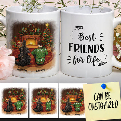 Personalized Godzilla Beside The Fireplace On Christmas Night Art Mug