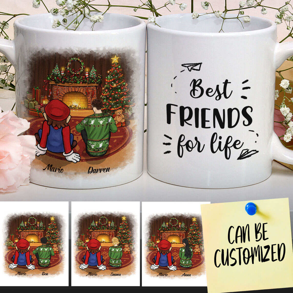 Personalized Mario Beside The Fireplace On Christmas Night Art Mug