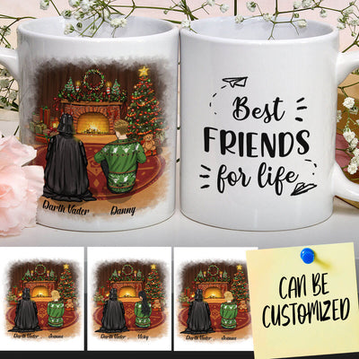 Personalized Vader Beside The Fireplace On Christmas Night Art Mug