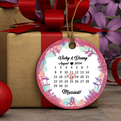 Personalized Running Special Date Couple Ornament