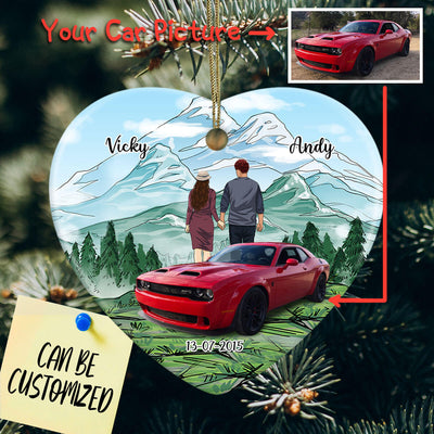 Personalized Car Couple Heart Ornament
