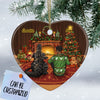 Personalized Godzilla Couple Heart Ornament