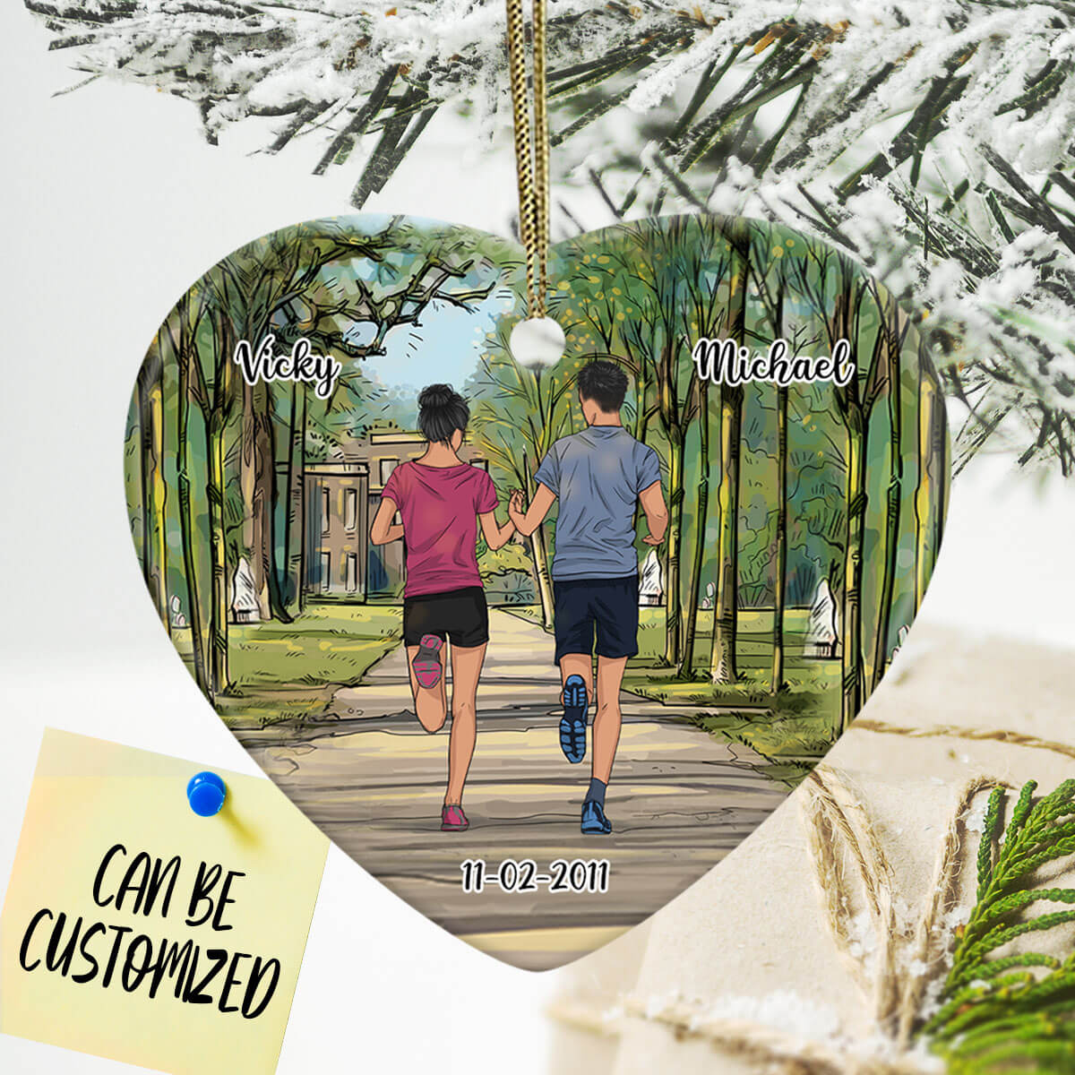 Personalized Running Couple Heart Ornament
