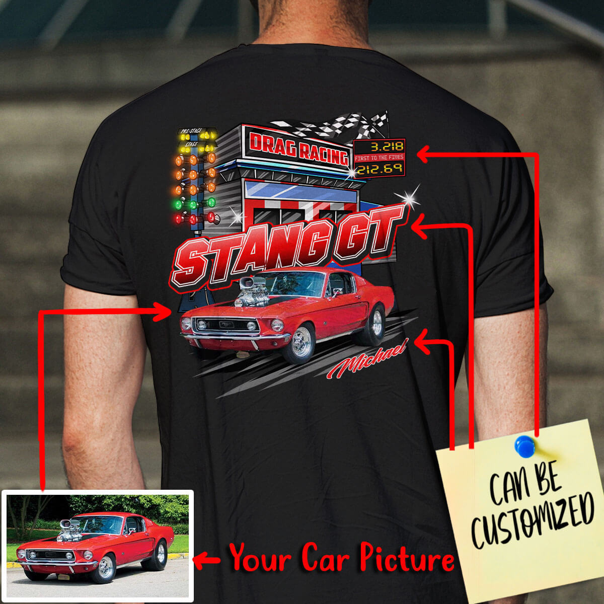 Customized Drag-Racing Art T-shirt