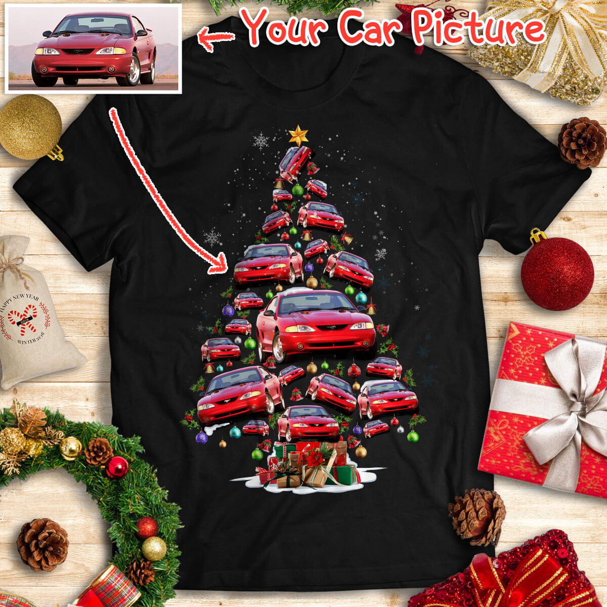 Personalized Christmas T-shirt - Christmas Tree From Your Cars