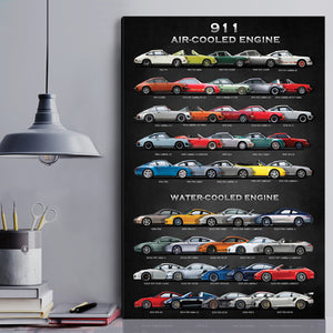 All 911 Models Framed/Scrolled Canvas (New version)