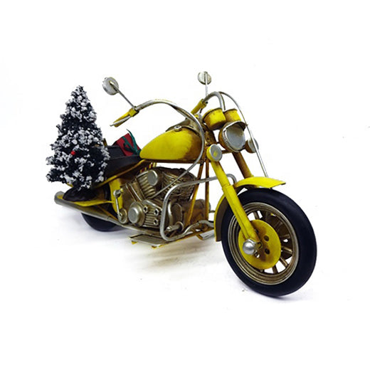 Motorcycle with Christmas Tree and Gifts Vintage Model