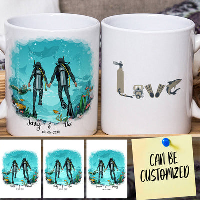 Personalized Scuba Diving Couple Mug (New Version)
