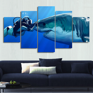 Shark & Diver Canvas Wall Art
