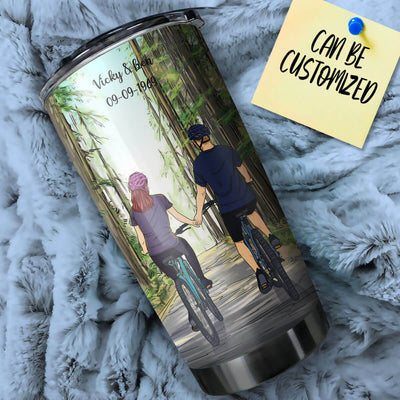 Personalized Bicycling Couple Stainless Steel Tumbler