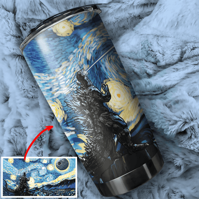 Godzilla vs DS Starry Night Stainless Steel Tumbler