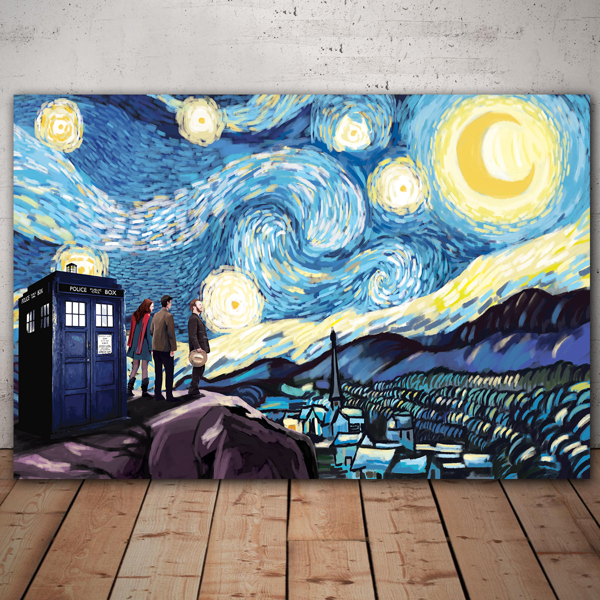 Amex Express Checkout >> Doctor Who Starry Night Framed Canvas Wall Art - TrendySweety