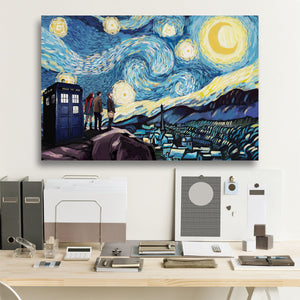 Doctor Who Starry Night Framed Canvas Wall Art