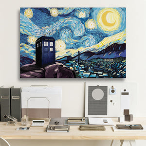 Tardis Starry Night Framed Canvas Wall Art (new version)