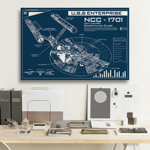 NCC-1701 Blueprint Framed Canvas Prints