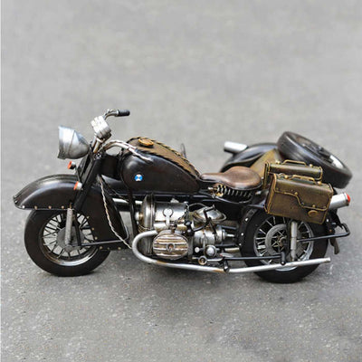 Vintage Military Metal Craft Motorbike Model With Three Wheels