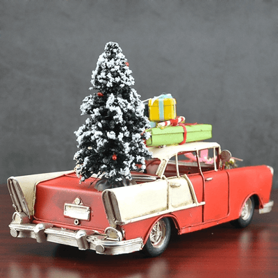 Car with Christmas Tree and Gifts Vintage Model