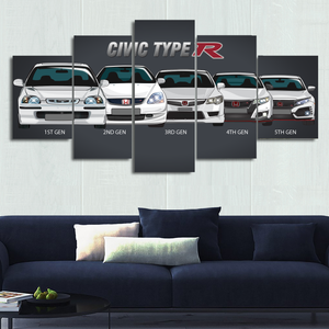 Civic Type R Canvas Wall Art