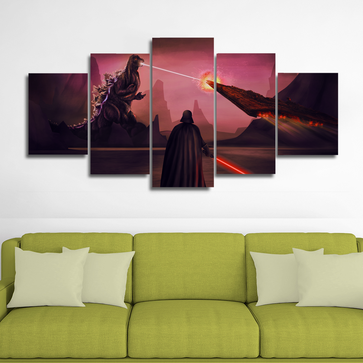 Godzilla vs Darth Vader Canvas Wall Art