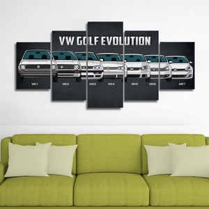 VW Golf Evolution Canvas Wall Art
