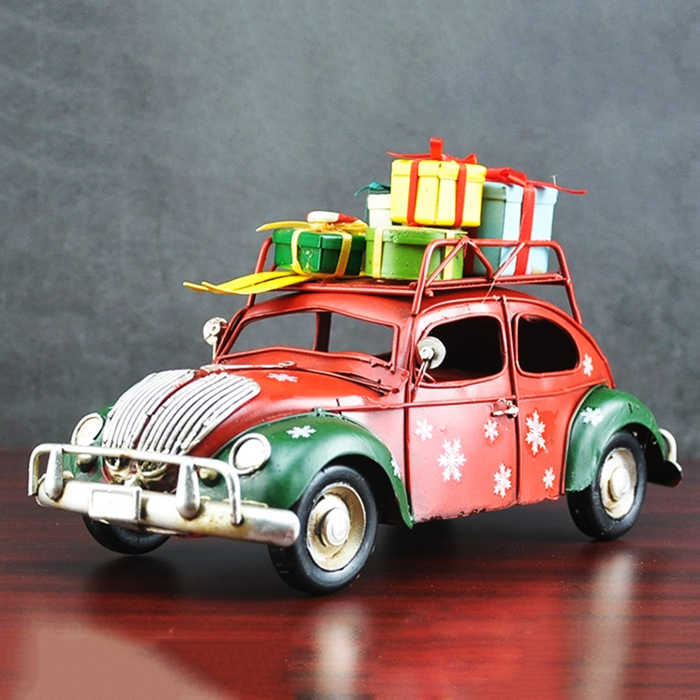 Vintage Christmas Metal Craft Car With Gifts