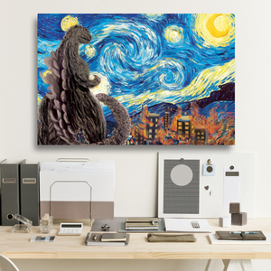 Godzilla Starry Night Framed Canvas Prints