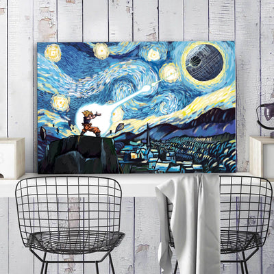 Goku vs DS Starry Night Framed Canvas Wall Art