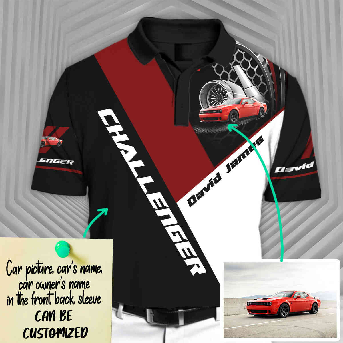 Personalized Challenger Short Sleeve Polo T-Shirt