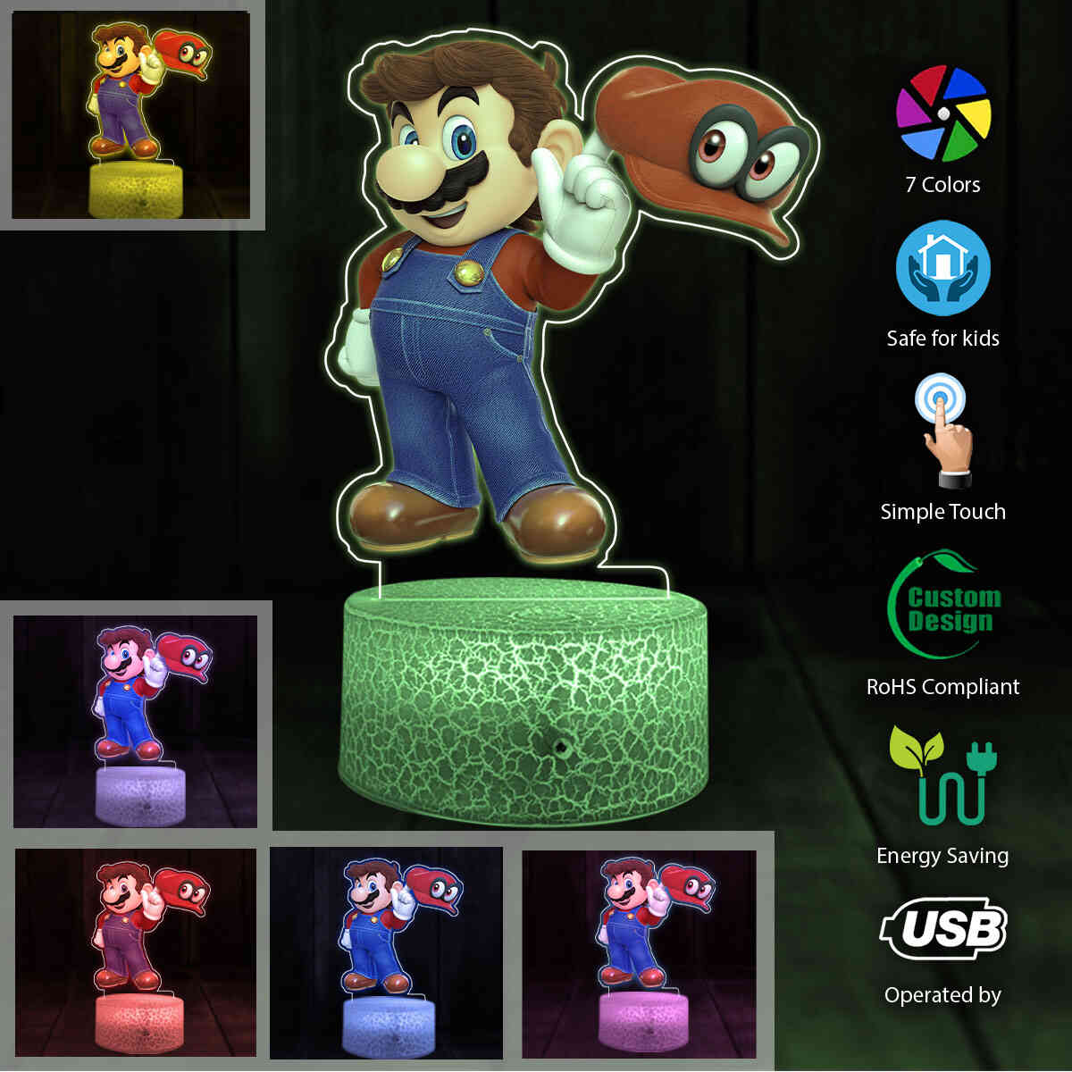 Mario Printed Night Lamp