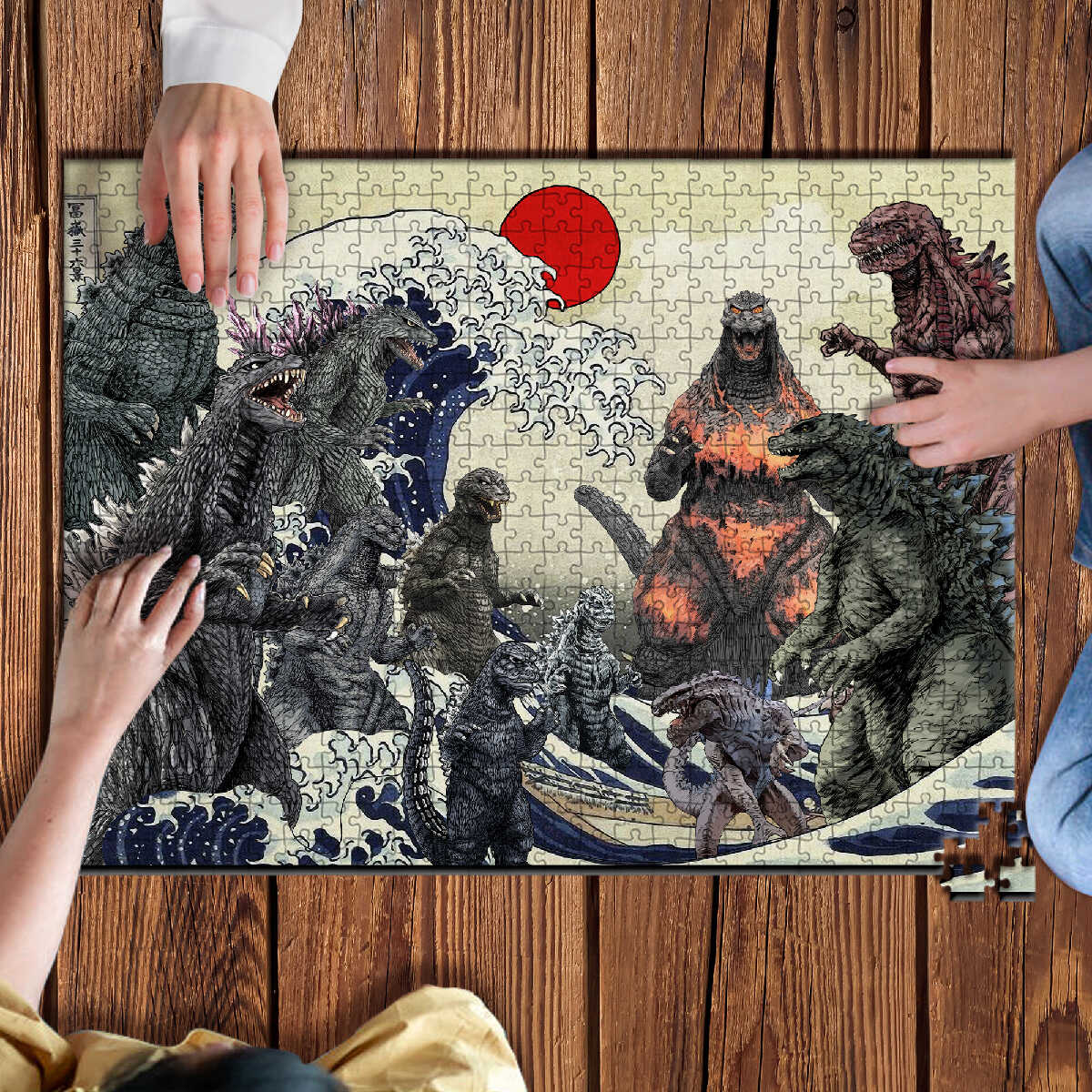 STEATEA Godzilla 1000 Pieces Wooden Jigsaw Puzzle Game Toys Gift Artwork for Adults Teens Enjoy with Family