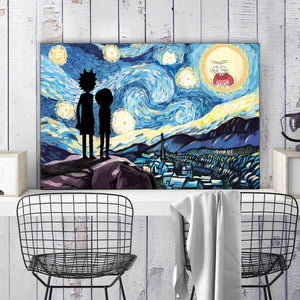 R&M Starry Night Framed Canvas Wall Art