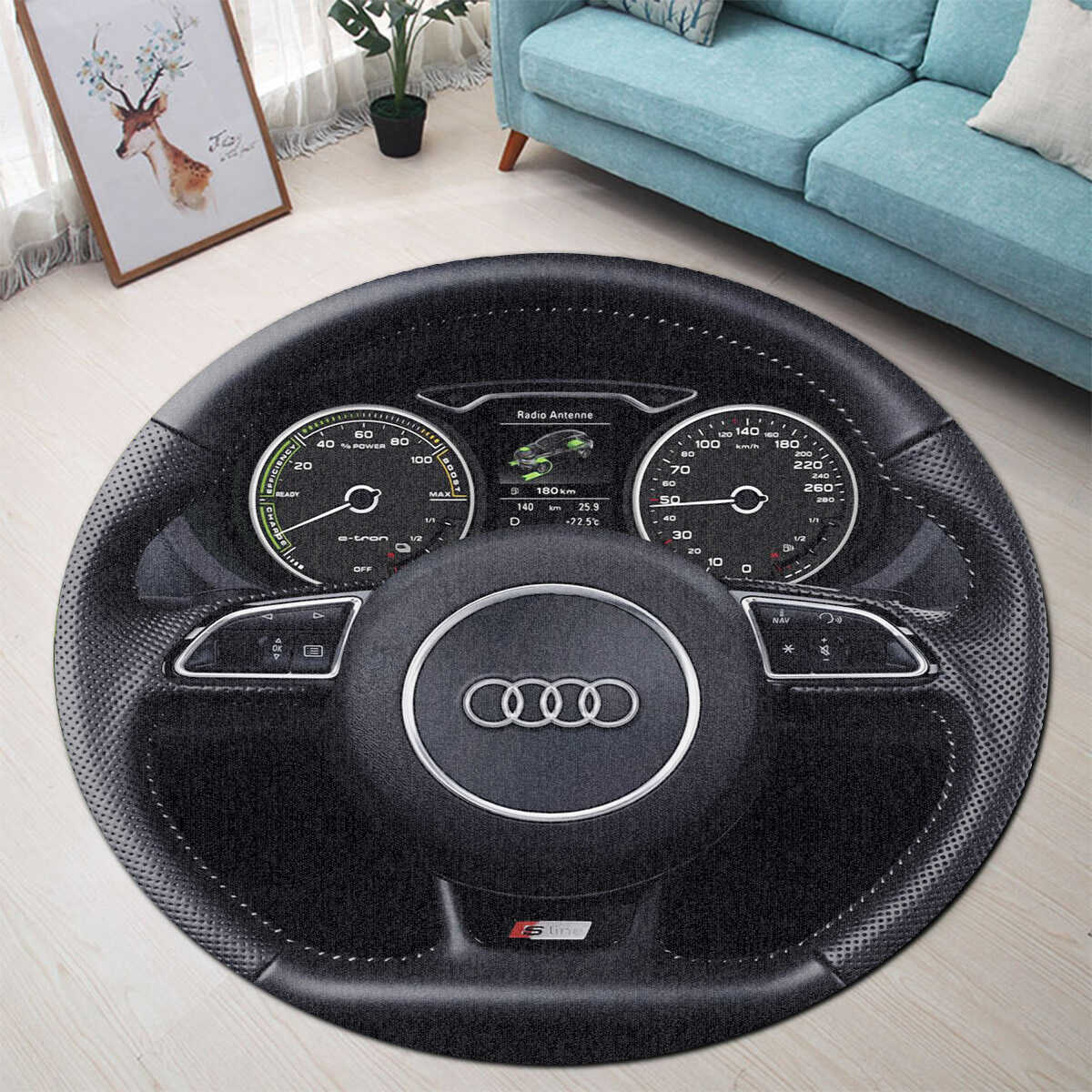 Audi Steering Wheel Collection Round Rug