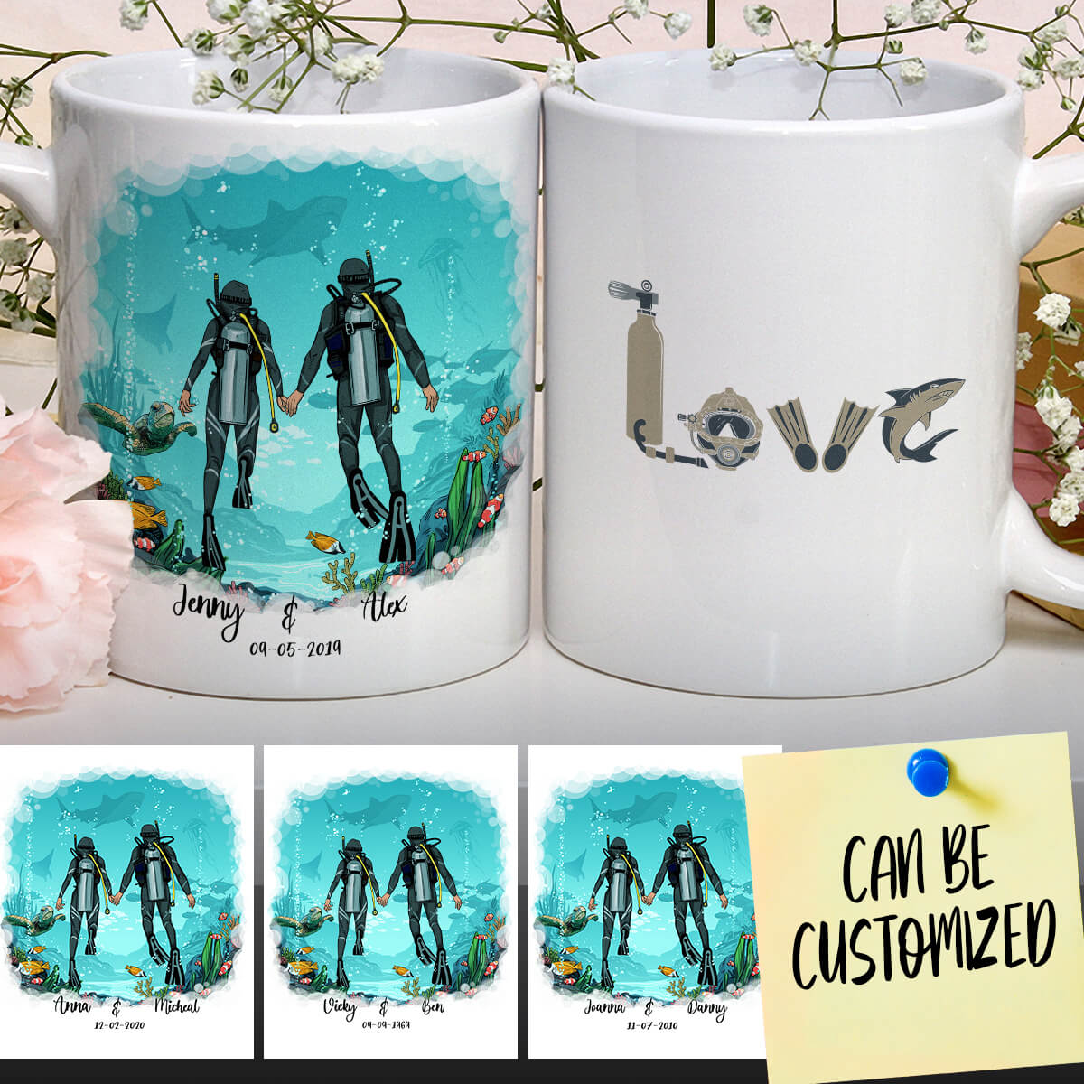 Personalized Scuba Diving Couple Mug