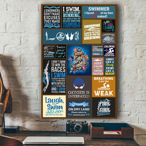 Swimming Canvas Wall Art
