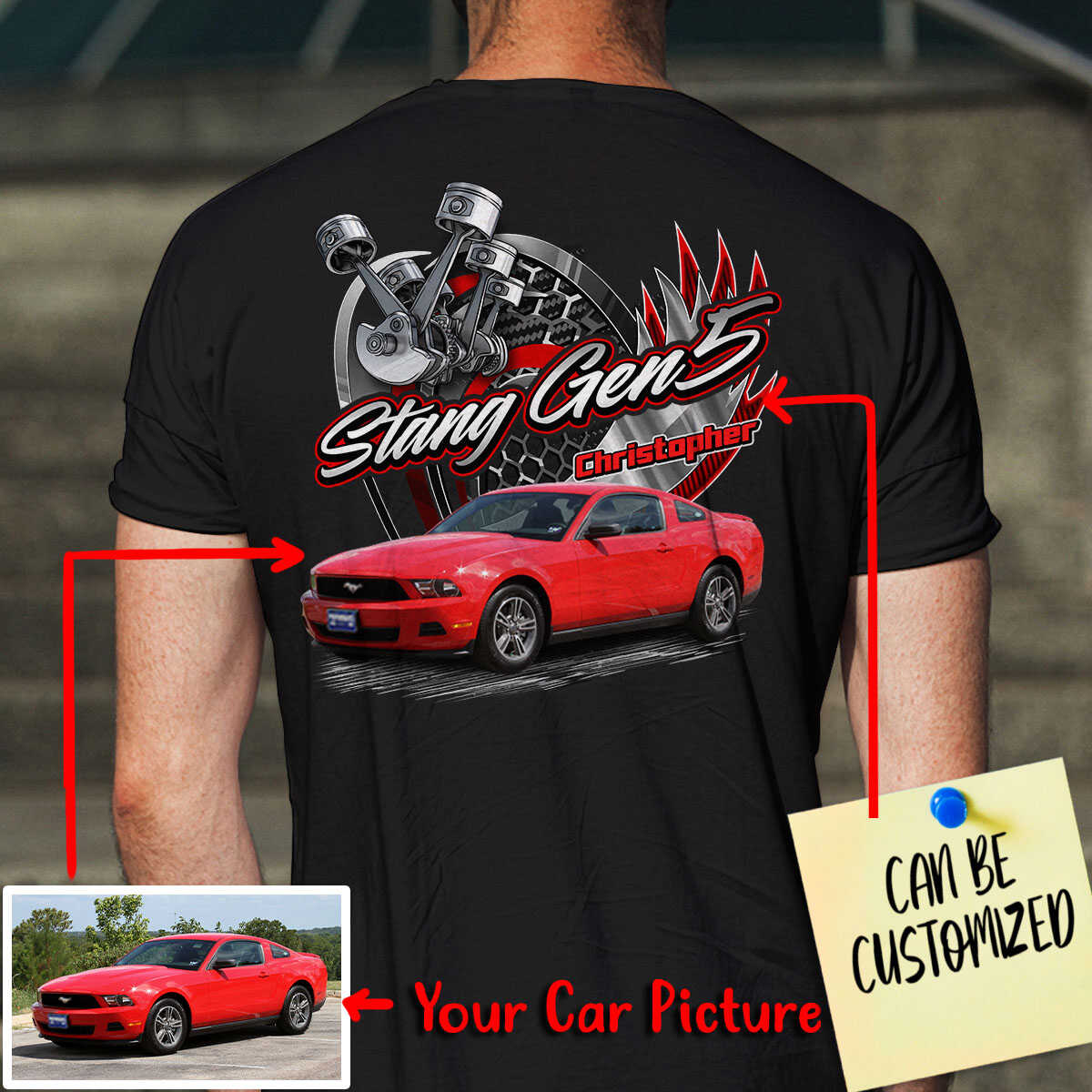 Customized V6 Engine Car Racing Art T-shirt