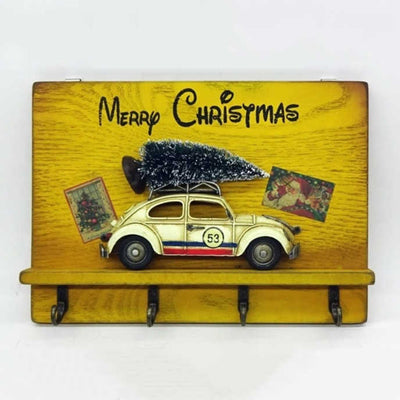 Vintage Christmas Car Wall Decoration